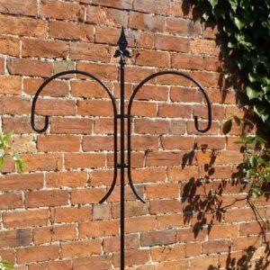 Bird Feeder Pole - Solid Steel Antique Finish Double Crook Pole