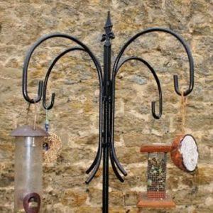 Bird Feeder Station - Solid Steel Antique Finish 4 Way Bird Station