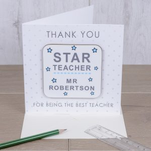 Teacher Card Ideas - Star Teacher Thank You Card with Coaster