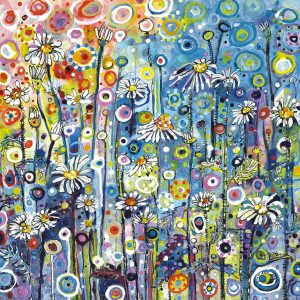 Floral Greeting Card - A Riot of Colour and Detail by Artist Sally Rich