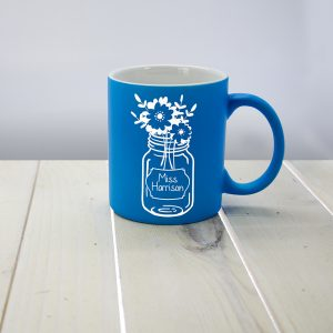 Teacher Mugs - Blue Flowers For My Teacher Personalised Mug