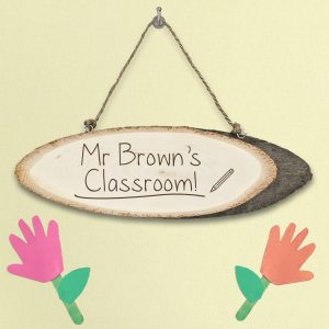 Best Teacher Presents - Birch Wood Rustic Classroom Sign