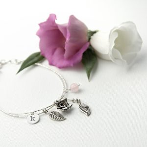 Personalised Silver Charm Bracelet - Hand-Rose Quartz