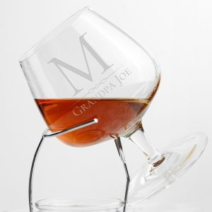 Personalised Brandy Glass Hand Etched with Initial and Message