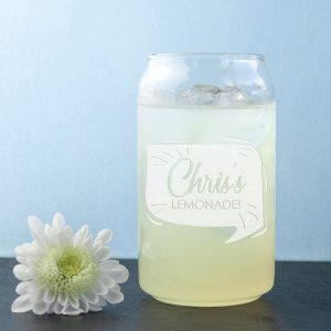 Hand etched personalised lemonade glass.