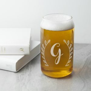 Personalised Leaf Frame Beer Can Glass