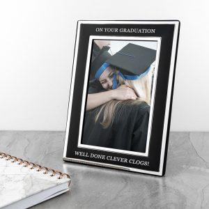 Personalized Photo Frames - Graduation Silver & Black Frame Engraved