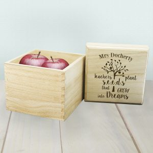 Special Teacher Gifts - Solid Pine Personalised Keepsake Box