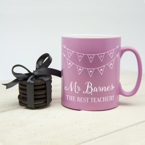 Pink Personalised Best Teacher Mugs