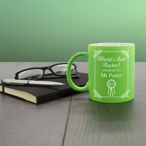 Green Personalised World's Best Teacher Mugs