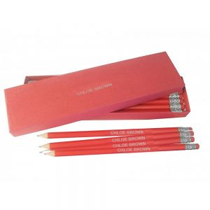 Printed Pencils - 12 Red and Silver Pencils & Personalised Box