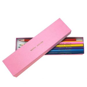 Twelve Personalised Coloured Pencils - Matching Pink Box