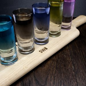 Personalised Wooden Paddle with Coloured LSA Shot Glasses
