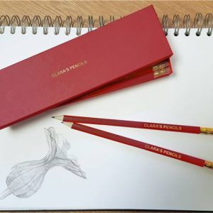 Twelve Red Personalized Pencils in a Personalized Box