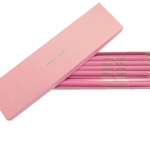 Twelve Personalised Pink and Silver Pencils