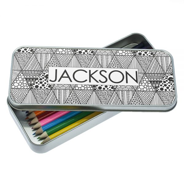 Pencil Cases for Teens – Abstract & Personalised Pencil Case Tin and Pencils