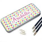 Girls Personalised Pencil Tin and Pencils