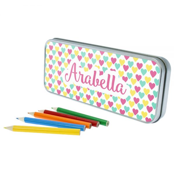 Colourful Hearts Personalised Pencil Case & Pencils