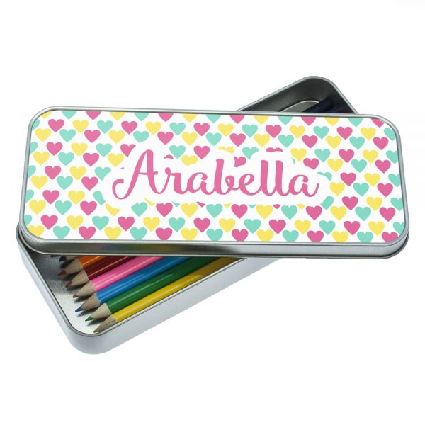 Personalised Pencil Case Set – Lovely Hearts Pencil Tin & Pencils
