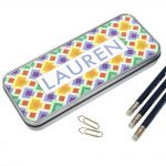 Personalised Tin Pencil Case – Funky Diamonds