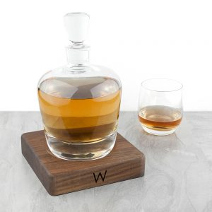 LSA International Decanter - With Monogrammed Walnut Base