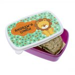 Happy Lion Personalised Toddler Lunch Box – Pink