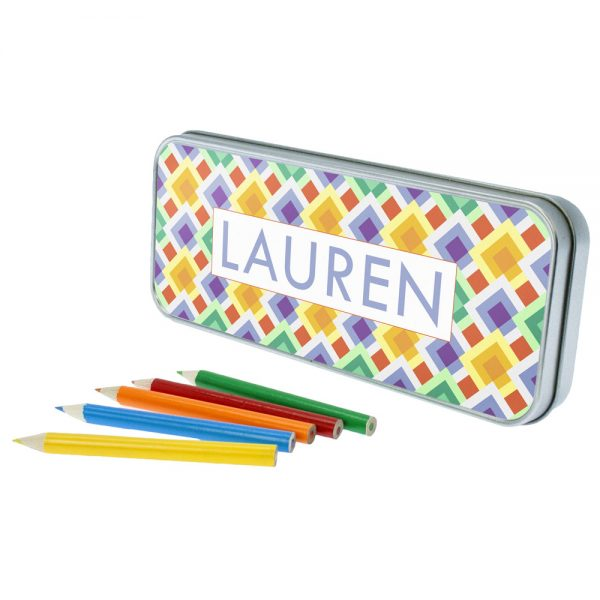 Funky Diamond Personalised Pencil Case & Pencils