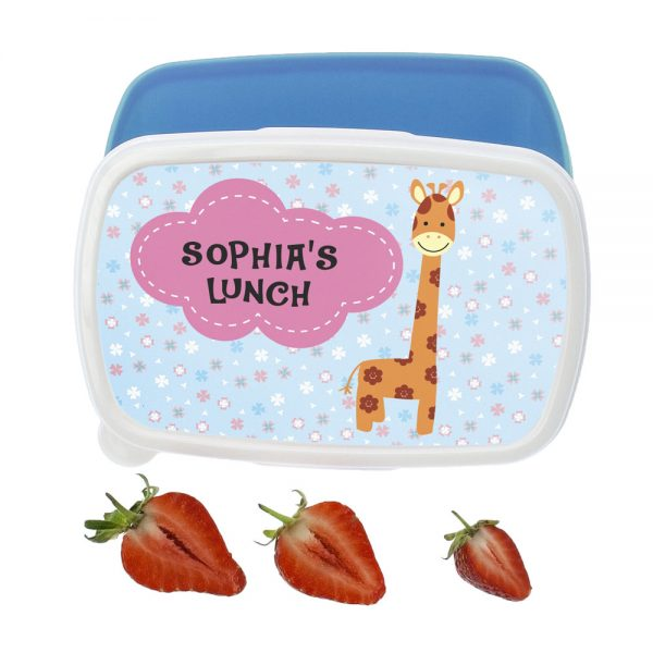Kids Lunch Boxes – Adorable Blue Giraffe Design