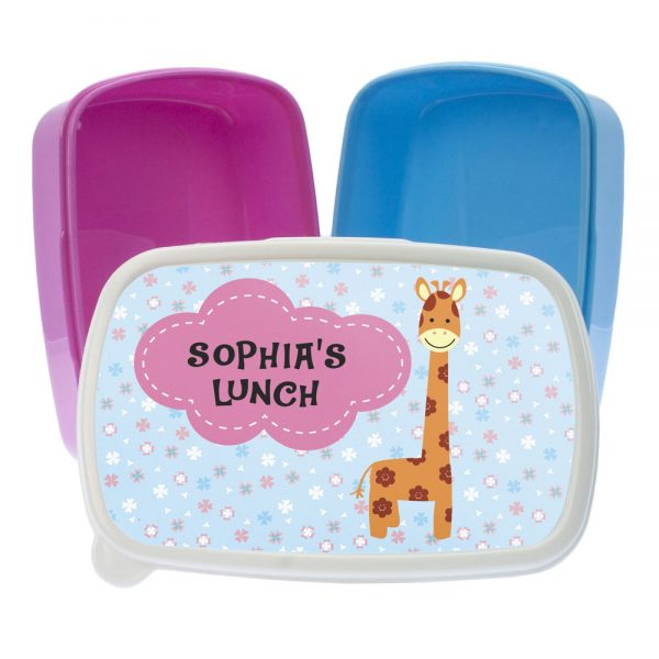 Cute Giraffe Personalised Lunch Box – Pink or Blue