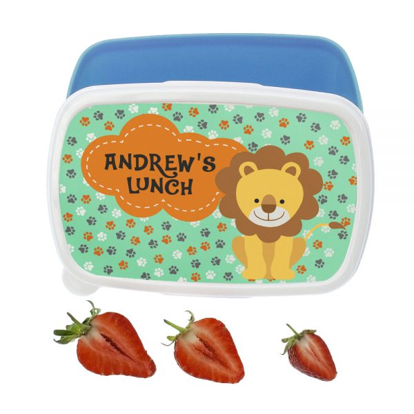 Happy Lion Personalised Toddler Lunch Box – Blue