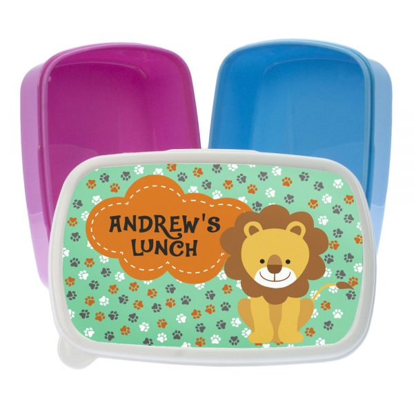 Happy Lion Personalised Toddler Lunch Box – Pink or Blue