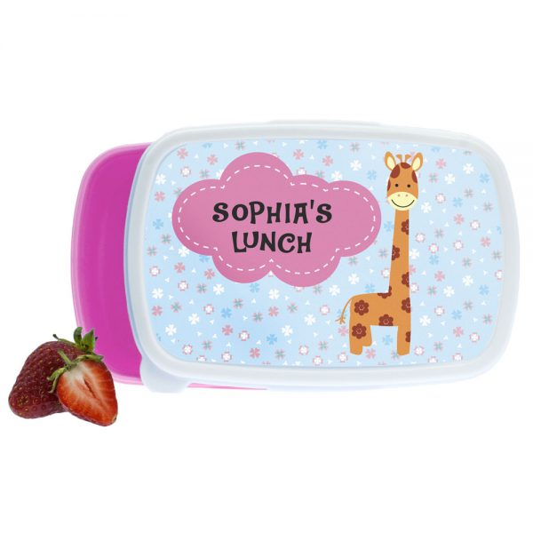 Kids Lunch Boxes – Gorgeous Pink Giraffe Design