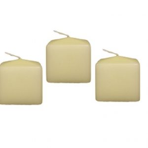 Ivory Church Candles - Set of 3 Square 60mm Candles