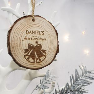 Christmas Tree Ornaments - Engraved Wooden First Christmas Decoration