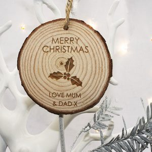 Christmas Tree Decoration - Personalised Holly Hanging Decoration