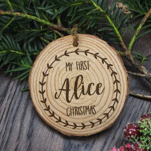 First Christmas Tree Decoration - Engraved Wooden Keepsake