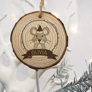 Personalised Christmas Tree Decorations for Kids - Engraved Wood
