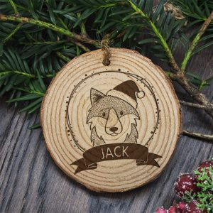 Woodland Wolf - Personalised Christmas Tree Decoration for Children