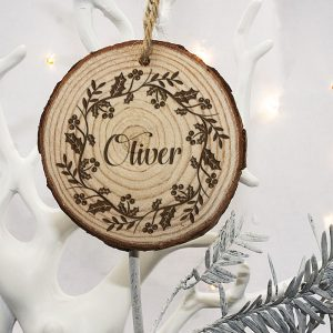 Personalised Christmas Tree Decorations - Engraved Wooden Holly Wreath