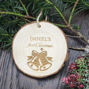 Christmas Tree Ornaments - Engraved Wooden First Christmas Ornament