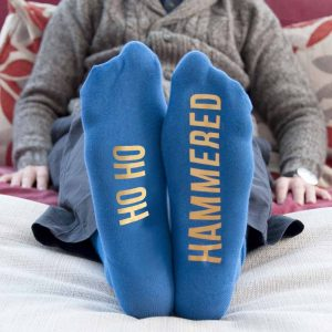 Personalised Cobalt Blue and Canary Yellow Christmas Day Socks