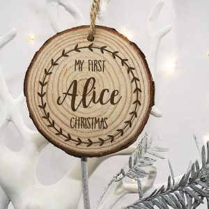 First Christmas Tree Decoration - Engraved Wooden Holly Wreath