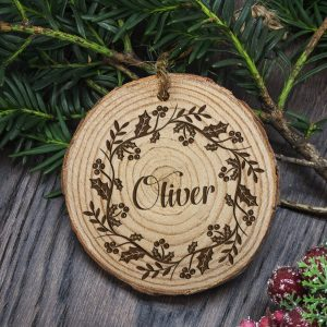 Personalised Christmas Tree Decorations - Wooden Holly Wreath