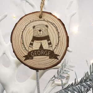 Polar Bear Christmas Tree Decorations - Personalised Engraved Wood