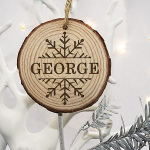 Wooden Christmas Tree Decoration - Personalised Snowflake Design