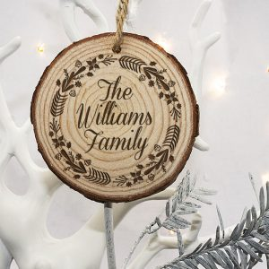 Personalised Wooden Decorations - Engraved Family Tree Decoration