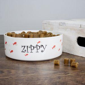Ceramic Pet Bowls - Funky Personalised Fishy Cat Bowl