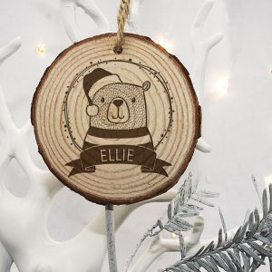 Personalised Tree Decorations for Children - Engraved Wooden Christmas Ornament