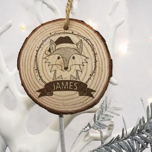 Wooden Christmas Tree Decorations - Personalised Woodland Fox