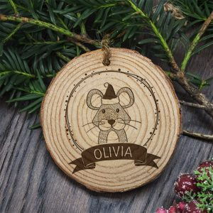 Personalised Christmas Tree Decoration for Kids - Woodland Mouse